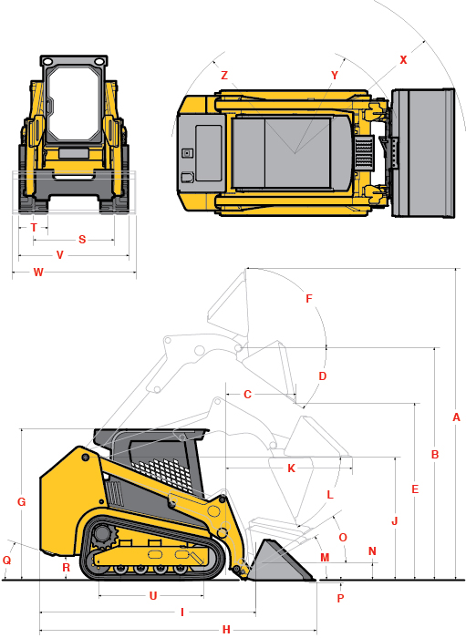 Gehl RT175 Track Loader Specifications Diagram